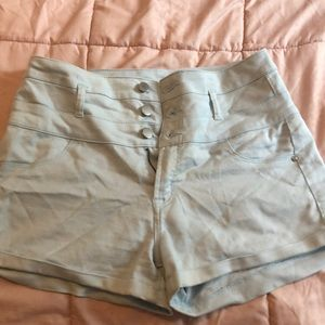 Worn, in good condition light blue shorts